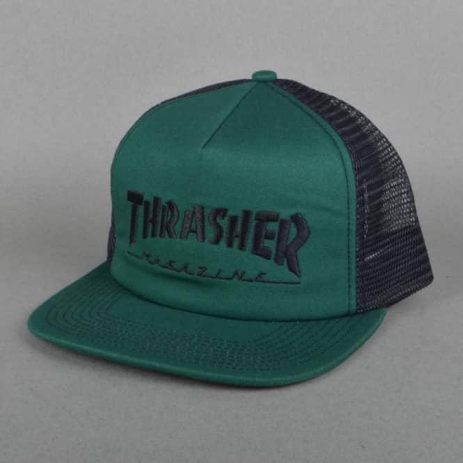 dcab566f93c Thrasher Logo Embroidered Mesh Cap - Green Black - SKATE CLOTHING ...