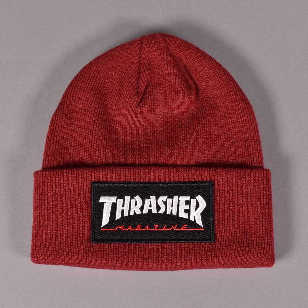 afa459a5ce0 Thrasher Logo Patch Beanie - Maroon - SKATE CLOTHING from Native ...