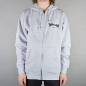 Thrasher Logo Zip Hooded Top - Heather Grey
