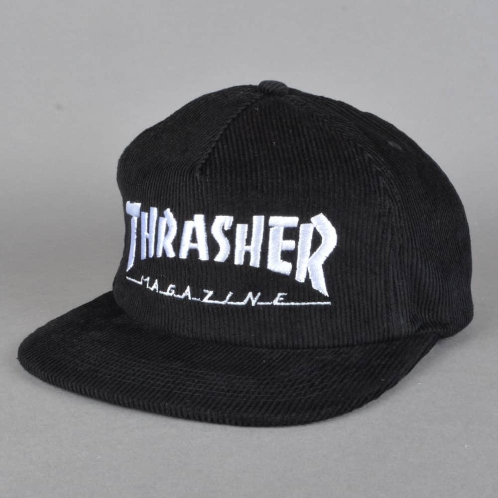 Thrasher Magazine Logo Corduroy Snapback Cap - Black - SKATE ... 300822a4b4c