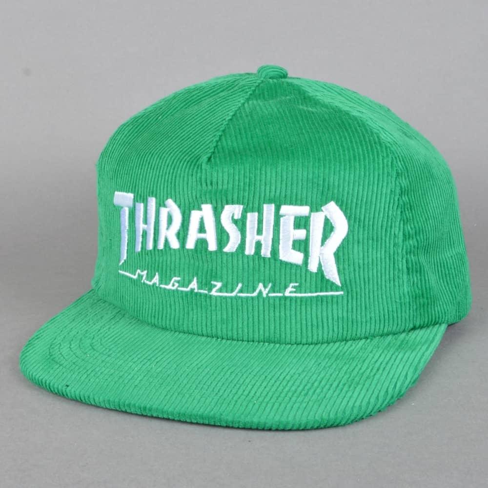 c3214e079b09 Thrasher Magazine Logo Corduroy Snapback Cap - Green - SKATE ...