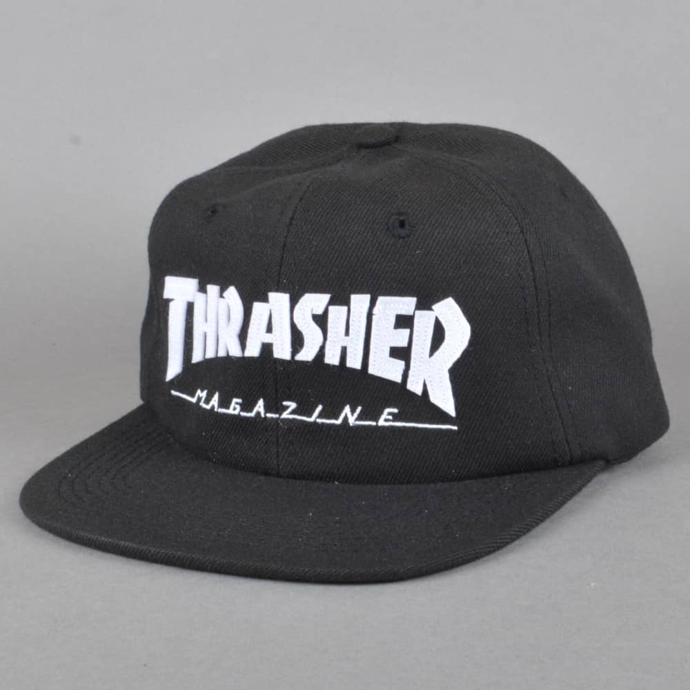 b4d44723f3fdeb Thrasher Magazine Logo Felt Snapback Cap - Black/White - SKATE ...