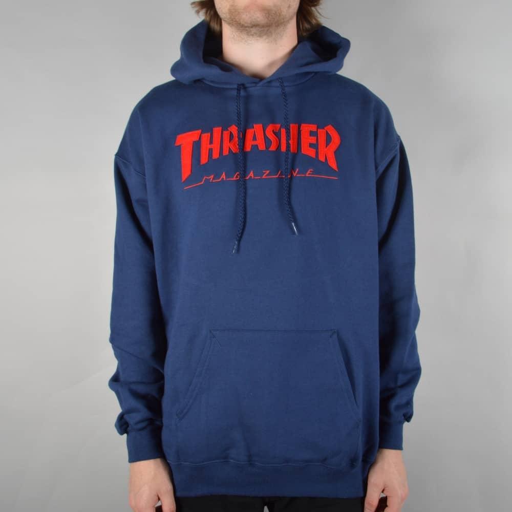 Thrasher Magazine Logo Felt Stitched Pullover Hoodie - Navy - SKATE ... 6575e3cda