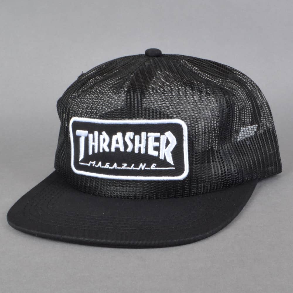 f52d2196bca Thrasher Magazine Logo Mesh Cap - Black White - SKATE CLOTHING from ...