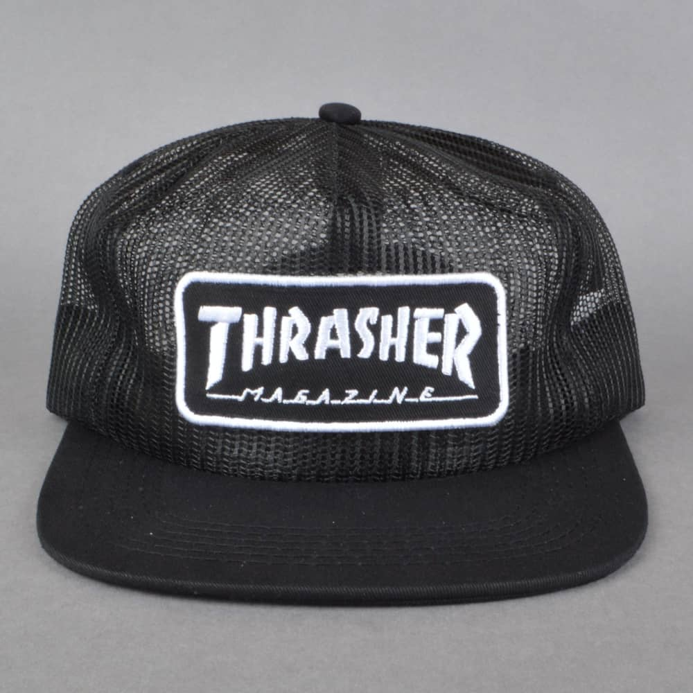 4720ddca7cc Thrasher Magazine Logo Mesh Cap - Black White - SKATE CLOTHING from ...