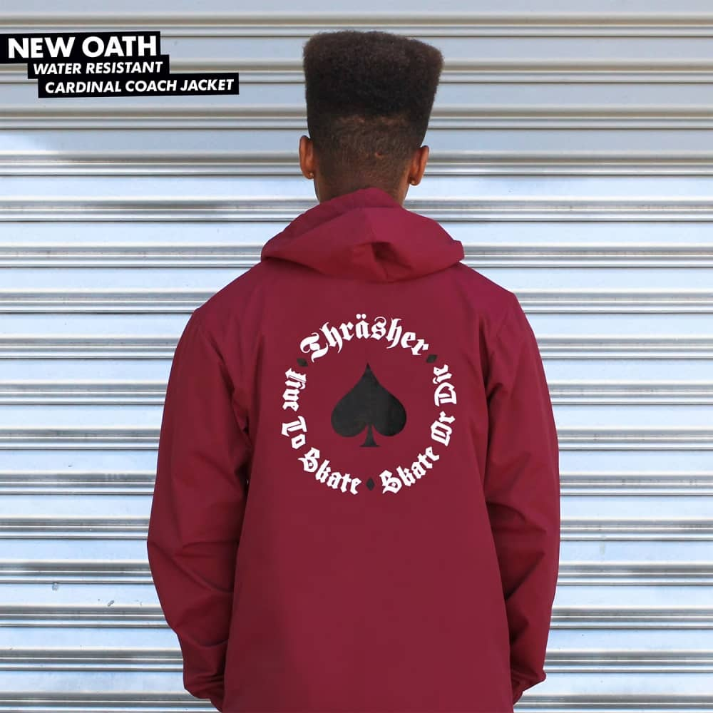 be507ad12878 Thrasher New Oath Hooded Coach Jacket - Cardinal Red - SKATE ...
