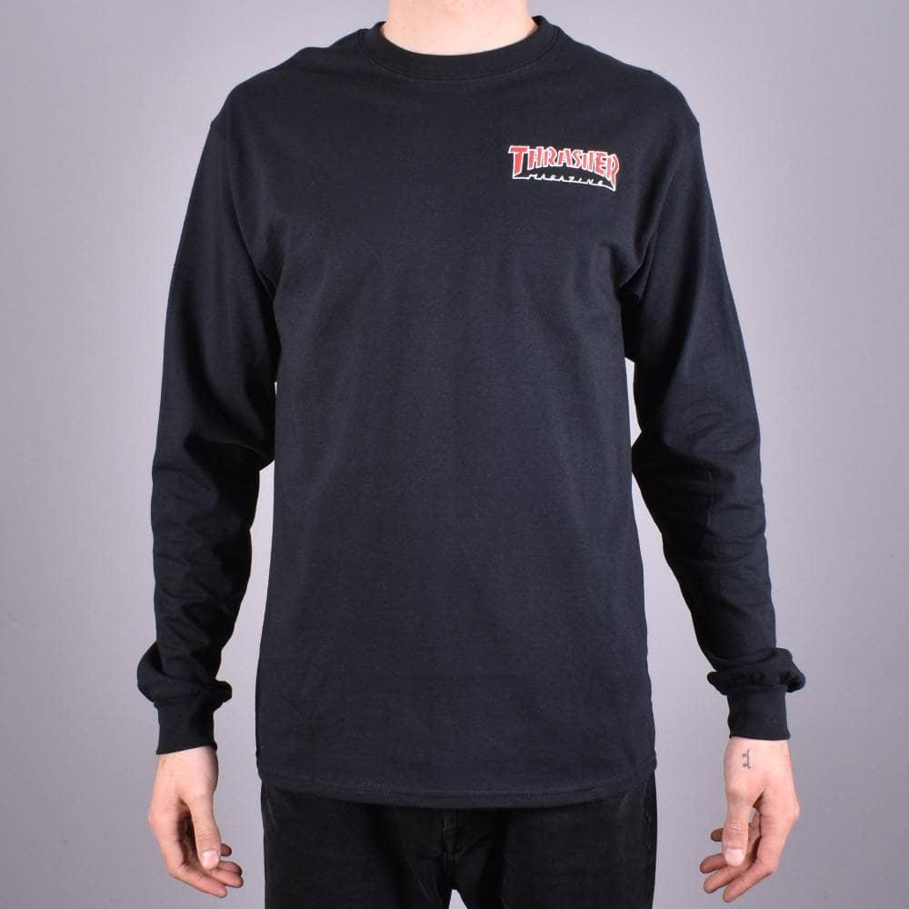 28fdd609ff73 Thrasher Outlined Longsleeve T-Shirt - Black - SKATE CLOTHING from ...