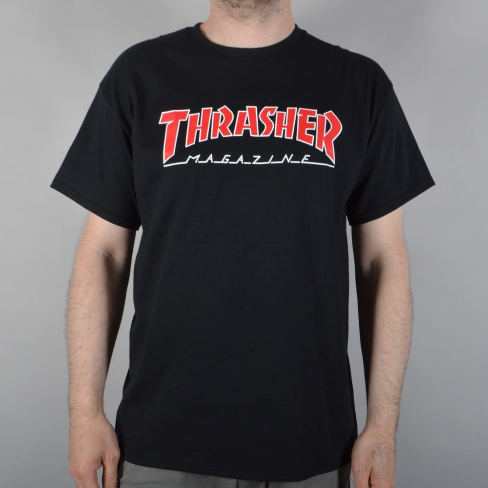 ac7170bedfd4 Thrasher Outlined Skate T-Shirt - Black - SKATE CLOTHING from Native ...