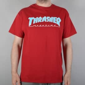 Thrasher Outlined Skate T-Shirt - Cardinal Red