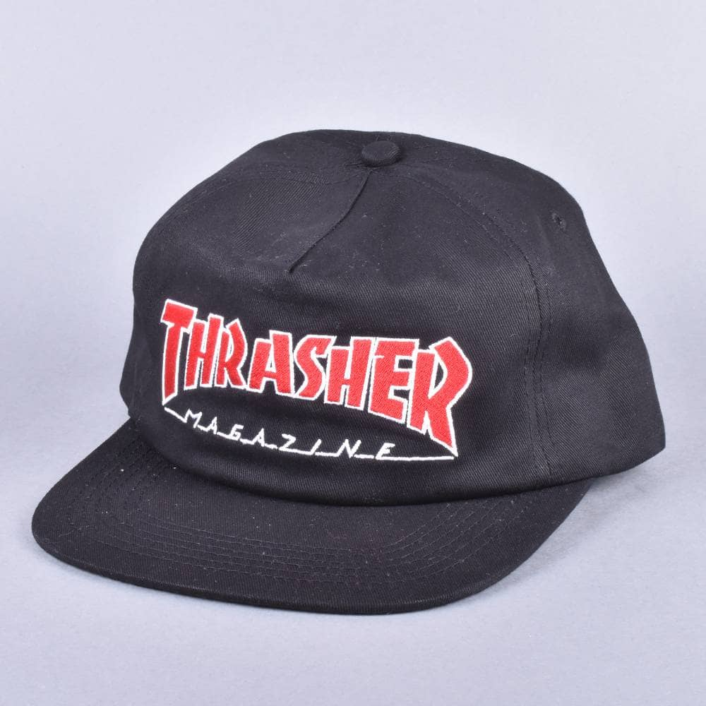 c5b1a7227a2 Thrasher Outlined Snapback Cap - Black - SKATE CLOTHING from Native ...
