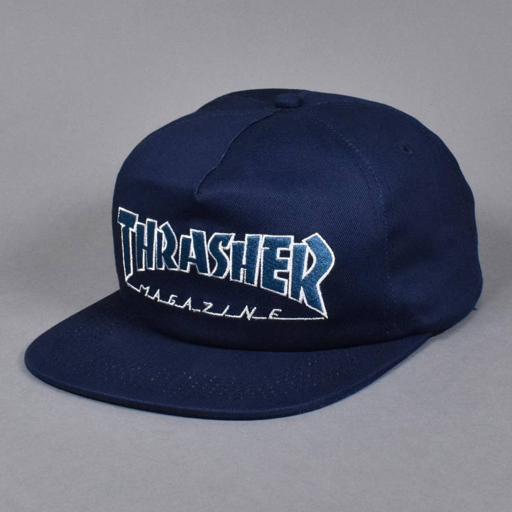 ce7d6905b17 Thrasher Outlined Snapback Cap - Navy Grey - SKATE CLOTHING from ...