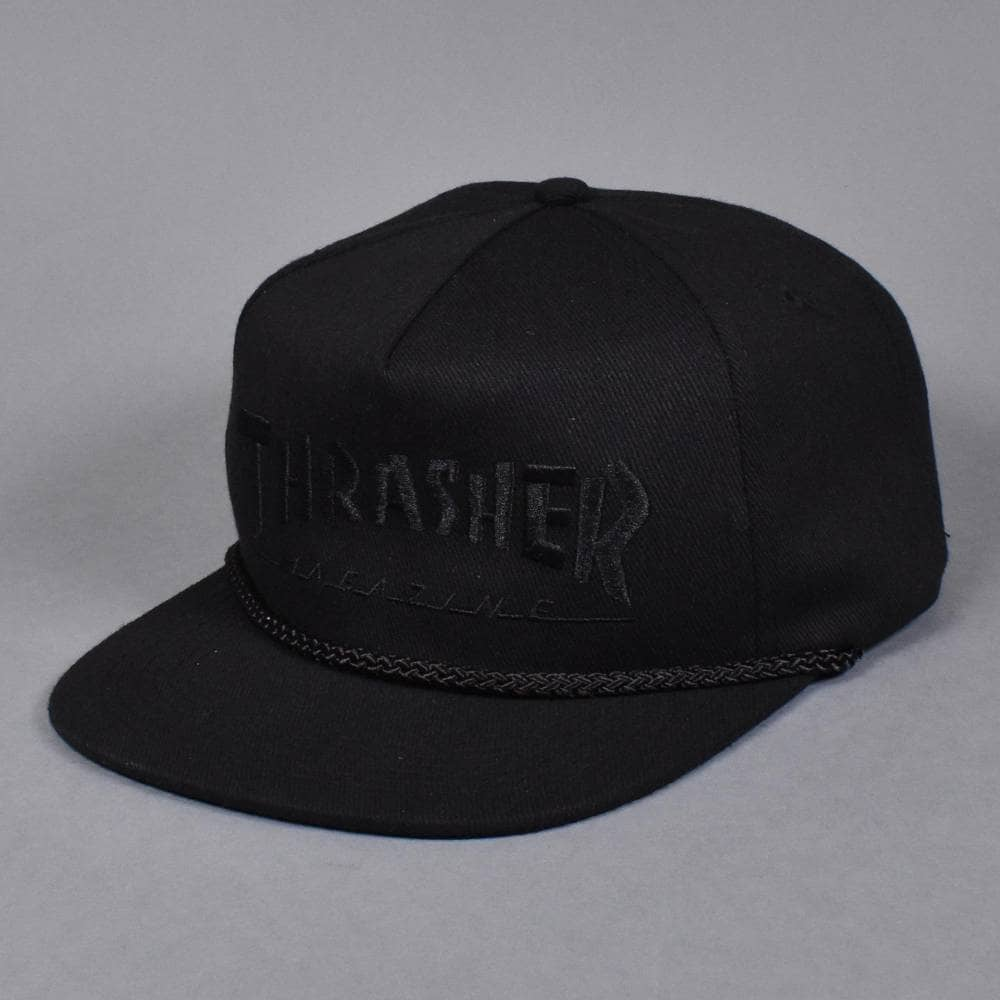 ad6f2d9de99 Thrasher Rope Snapback Cap - Black Black - SKATE CLOTHING from ...