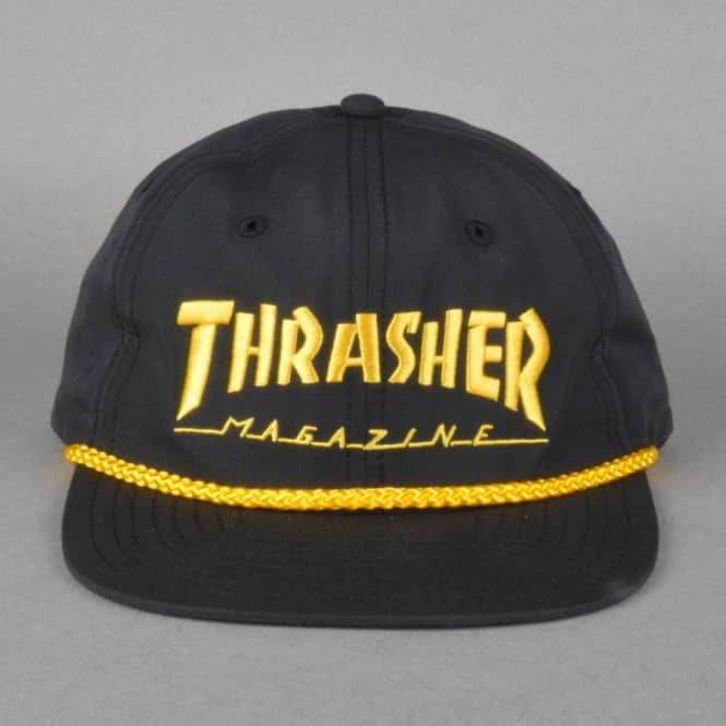 108f543bb5a9e Thrasher Rope Snapback Cap - Black Gold - SKATE CLOTHING from Native ...