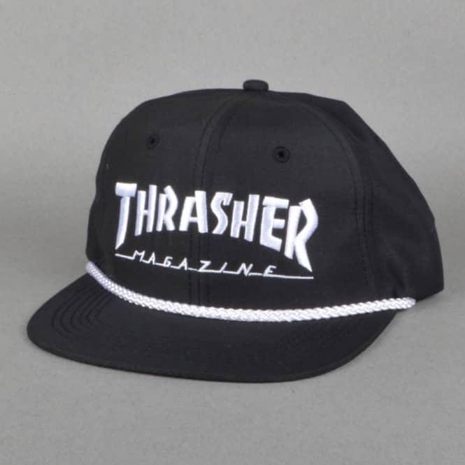 cd34891230cf1 Thrasher Rope Snapback Cap - Black White - SKATE CLOTHING from ...