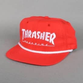 Rope Snapback Cap - Red/White