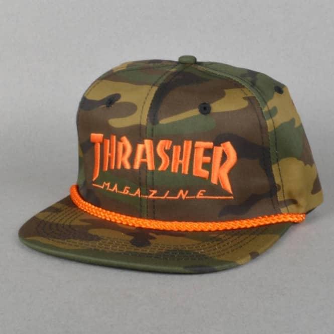 Thrasher Rope Snapback Cap - Woodland Camo - SKATE CLOTHING from ... 8bc9de09f4c