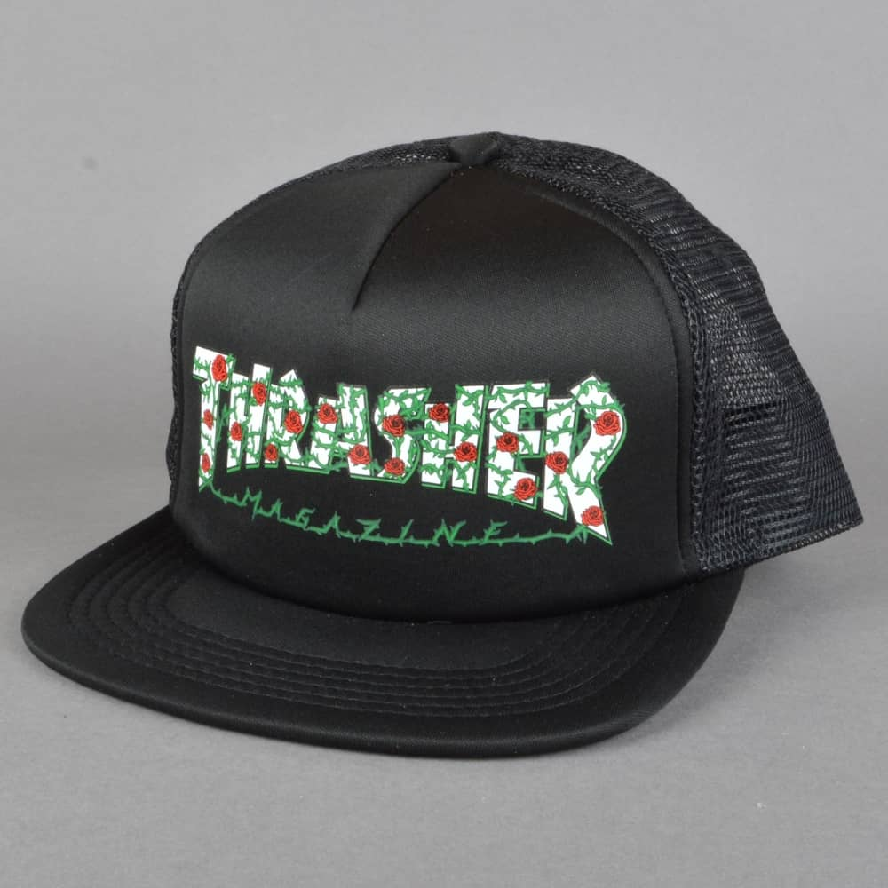 469124f5e68 Thrasher Rose Mesh Cap - Black - SKATE CLOTHING from Native Skate ...