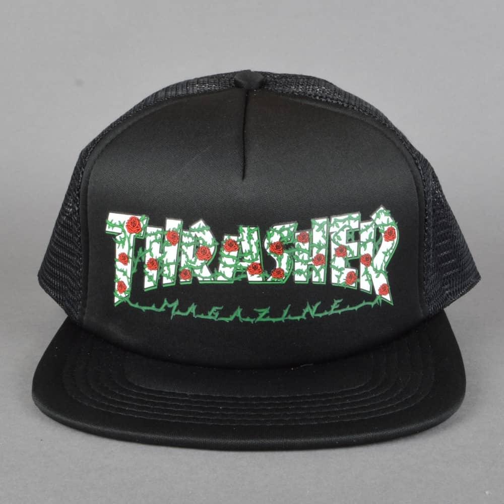 fc4d0b6b637 Thrasher Rose Mesh Cap - Black - SKATE CLOTHING from Native Skate ...