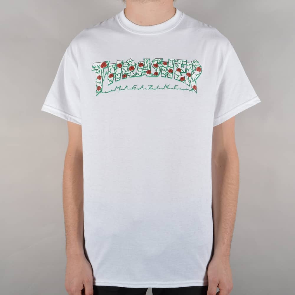8bb945e3ebb2 Thrasher Roses Skate T-Shirt - White - SKATE CLOTHING from Native ...