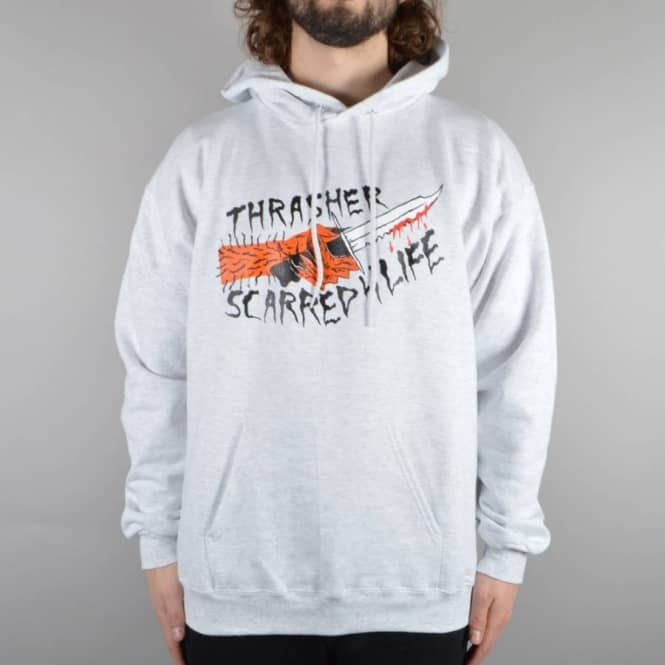 fe961db4b573 Thrasher Scarred 4 Life Pullover Hoodie - Ash Grey - SKATE CLOTHING ...