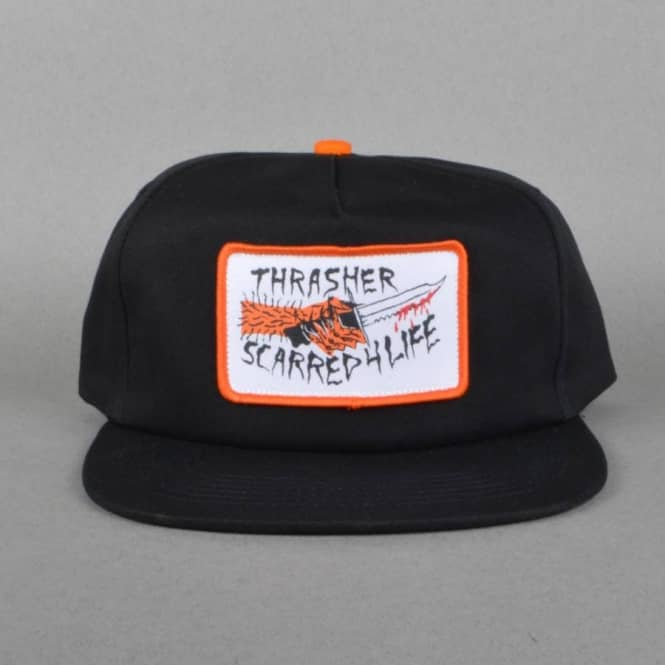 1ac3bb2d621 Thrasher Scarred 4 Life Snapback Cap - Black - SKATE CLOTHING from ...