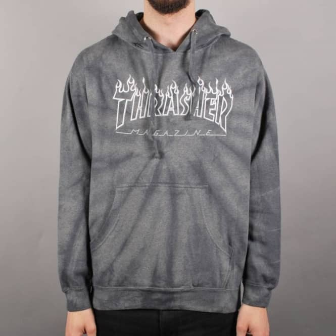 c416fb2788a0 Thrasher Silver Flame Tie Dye Pullover Hoodie - Silver - Hooded Tops ...