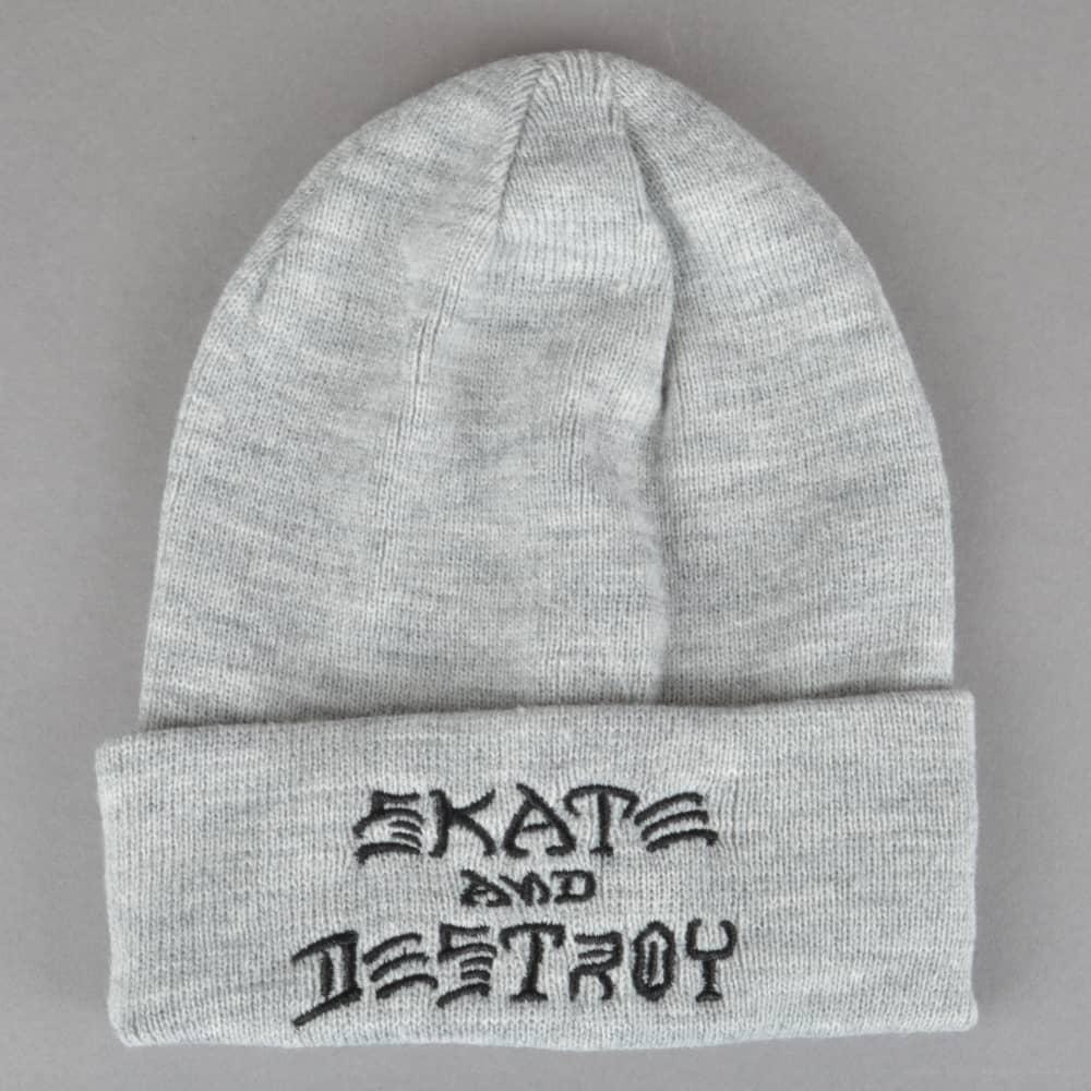 432b5a792d7 Thrasher Skate And Destroy Embroidered Beanie - Grey - SKATE ...
