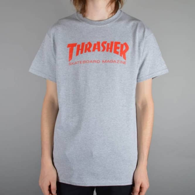 f3201bfe4a91 Thrasher Skate Mag Logo Skate T-Shirt Grey/Red - SKATE CLOTHING from ...