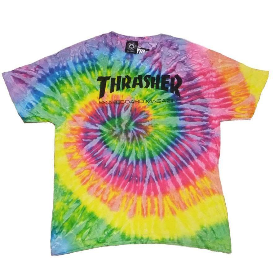 thrasher thrasher skate mag logo skate t shirt tie dye