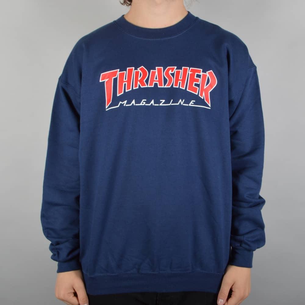 9583f4ddc882 Thrasher Skate Mag Outlined Crewneck Sweater - Navy/Red - SKATE ...
