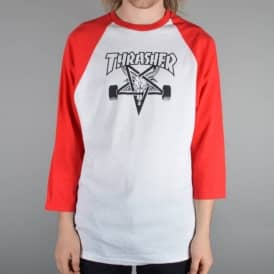 Thrasher Skategoat 3/4 Length Raglan Skate T-Shirt - Red/White