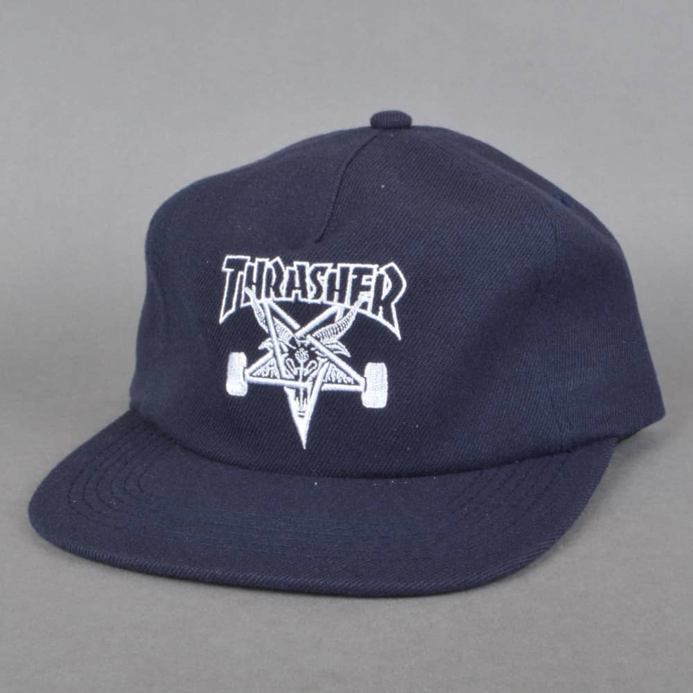 359f46dc275 Thrasher Skategoat Wool Blend Snapback Cap - Navy - SKATE CLOTHING ...