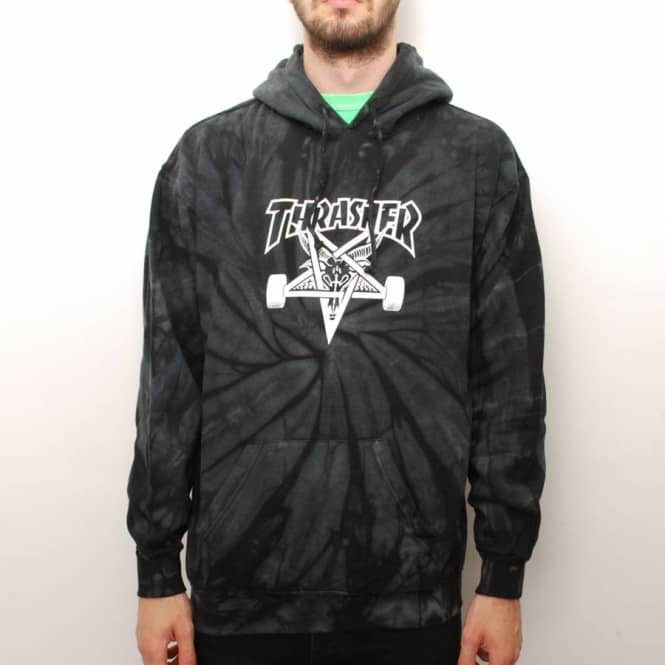 7c000efd5ae0 Thrasher Spider Skategoat Tie-Dye Hoodie - Black Grey - Hooded Tops ...