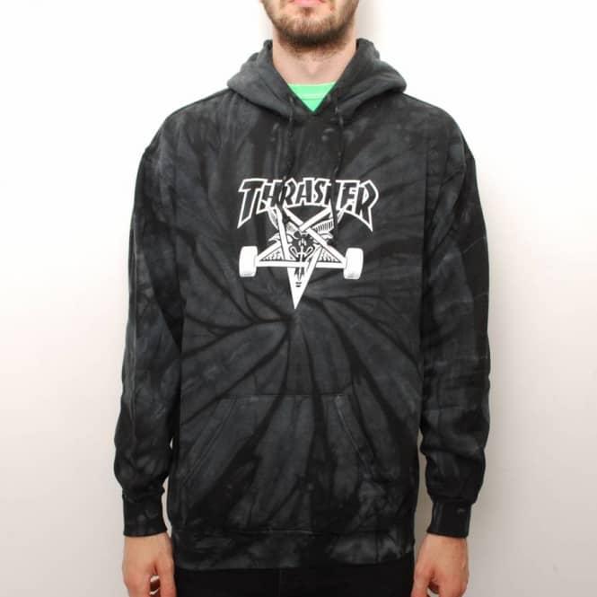 Thrasher Spider Skategoat Tie-Dye Hoodie - Black Grey - Hooded Tops ... 35334a698d02