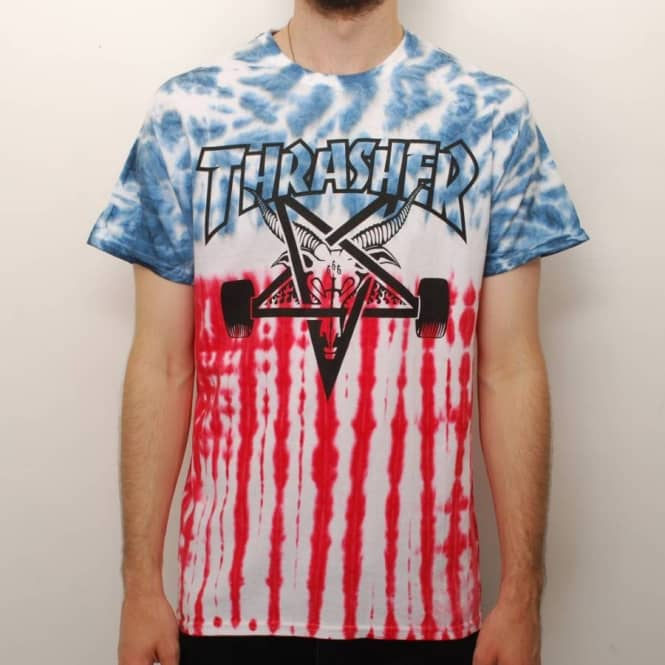 Thrasher The Patriot Skategoat Tie Dye Skate T-Shirt - Multi - Skate ... 2ed9a6dd059d