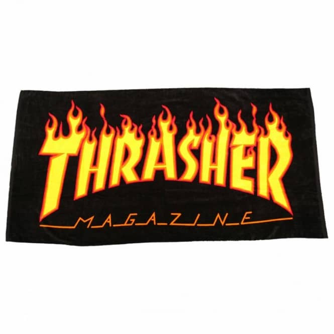 fe583b0d2571 Thrasher Flame Logo Beach Towel - Black - Misc from Native Skate ...