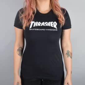 Thrasher Girls Skate Mag Logo T-Shirt - Black