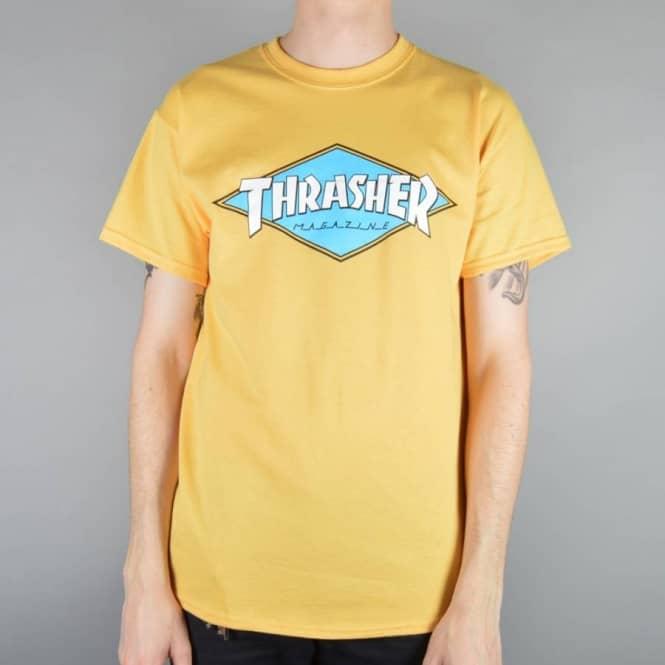 d64935a8bcc6 Thrasher OG Diamond Logo Skate T-Shirt - Honey Gold - Skate T-Shirts ...