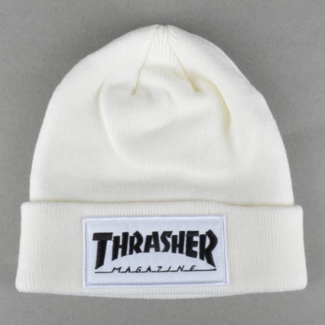 d845be9eafb Thrasher Patch Fold Beanie - White - SKATE CLOTHING from Native ...