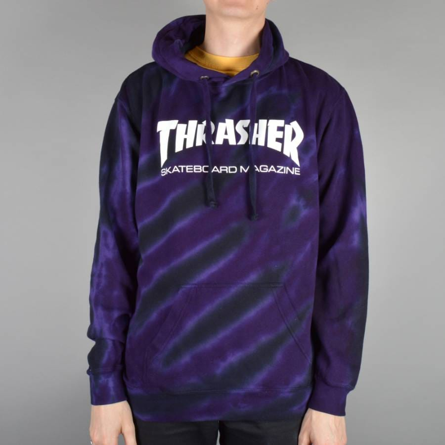 thrasher thrasher skate mag logo tie dye hoodie purple