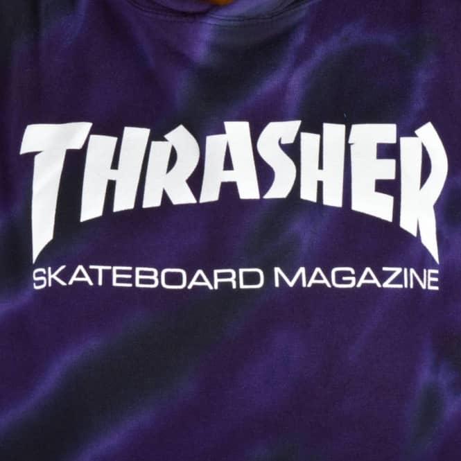 Thrasher Skate Mag Logo Tie Dye Hoodie - Purple Black - SKATE ... 5e1059ba0dd4