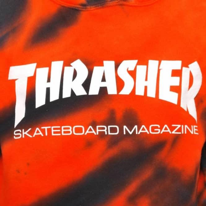 eee0d9eca791 Thrasher Skate Mag Tiger Stripe Tie Dye Pullover Hoodie - Orange ...