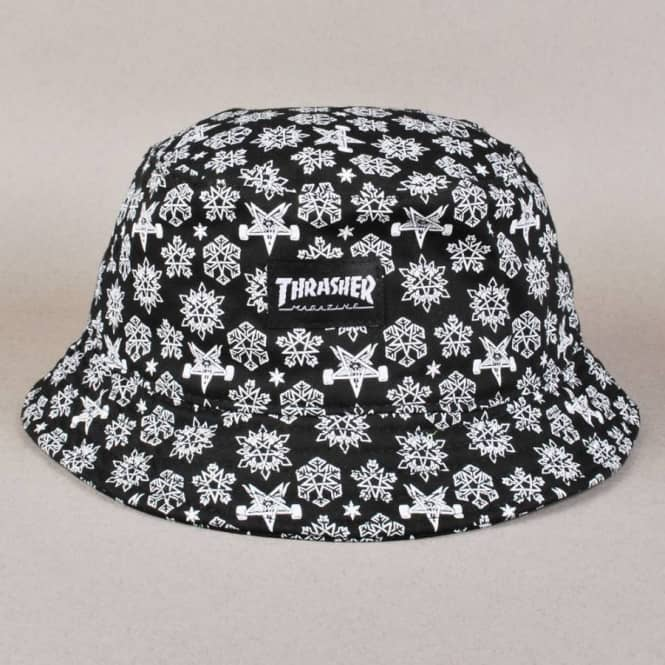 9402c0ebffd Thrasher Skategoat Snowflake Bucket Hat - Black White - Bucket Hats ...