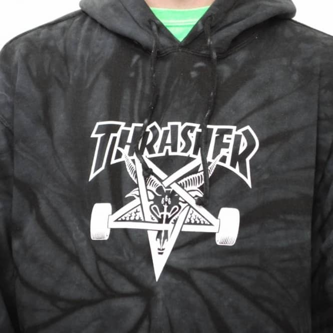 Thrasher Spider Skategoat Tie-Dye Hoodie - Black Grey - Hooded Tops ... e756c851a31a