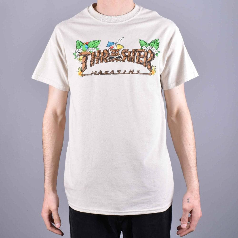 6fd7bb1f1a2c Thrasher Tiki Skate T-Shirt - Sand - SKATE CLOTHING from Native ...