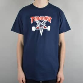Thrasher Two-Tone Skategoat Skate T-Shirt - Navy