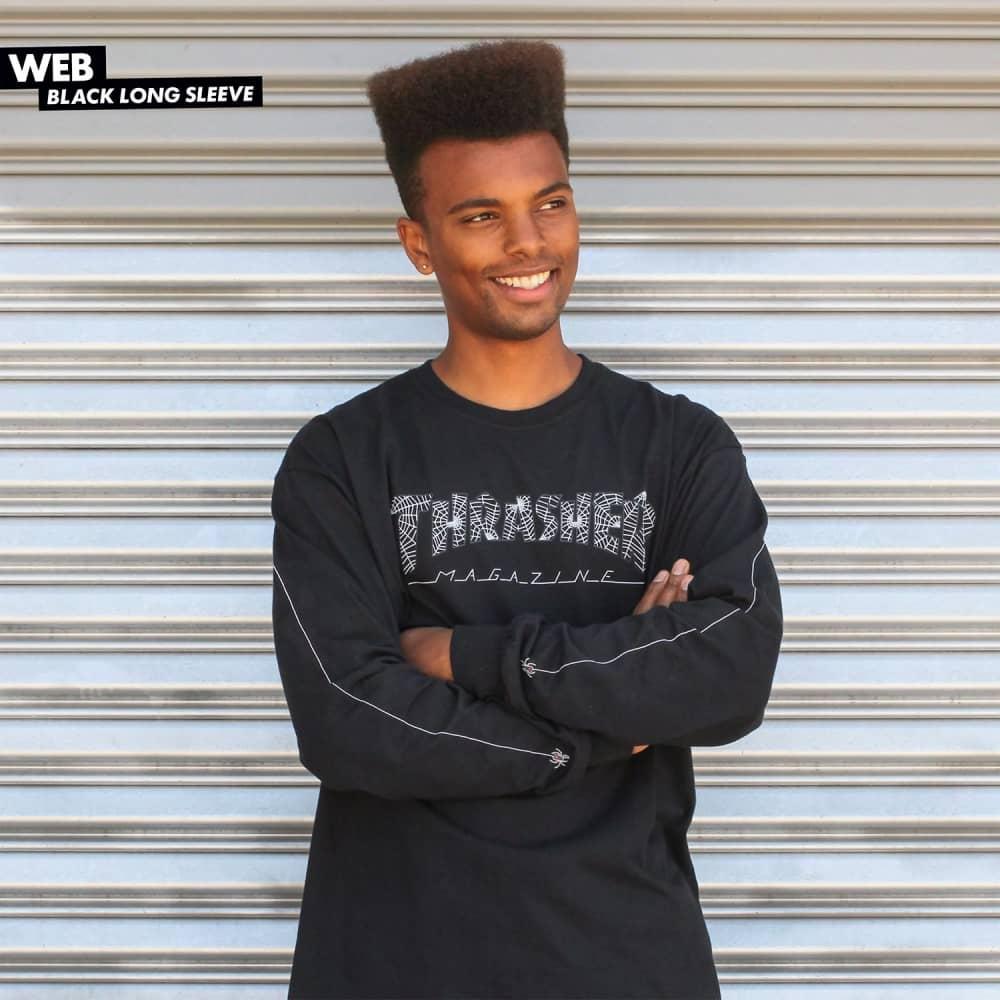 Thrasher Web Longsleeve T-Shirt - Black - SKATE CLOTHING from Native ... 155c806caacf