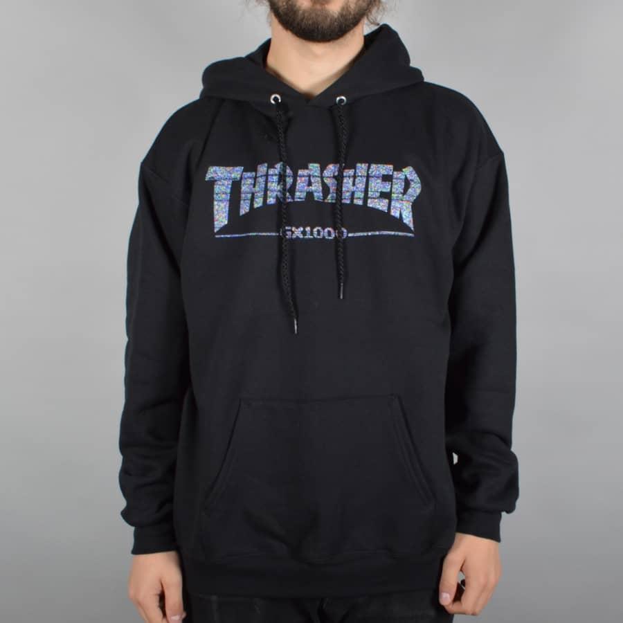 Thrasher x GX1000 Pullover Hoodie - Black - Thrasher from Native Skate Store UK