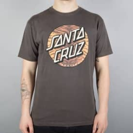 Santa Cruz Skateboards Tiger Dot Skate T-Shirt - Vintage Black