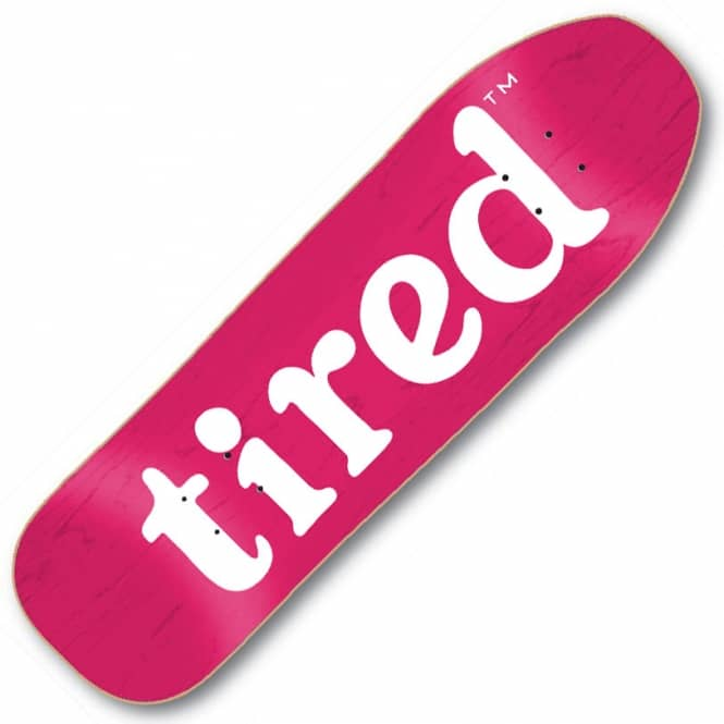 Tired Skateboards Lowercase Logo On Stumpnose (Pink Stain) Skateboard Deck 9.0